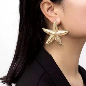Gold Large Starfish Earrings